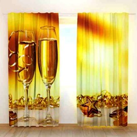 Golden Color Wine Glass Print 3D Blackout Curtain