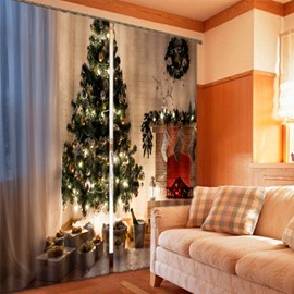 3D Christmas Tree with Decorative Things Printed Custom Living Room Curtain