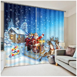 3D Lovely Santa Claus with White Snow Christmas Scene Printed Custom Living Room Curtain