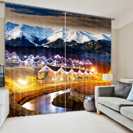 3D City in Mountains Wonderful Night Scenery Printed Decorative and Blackout Curtain
