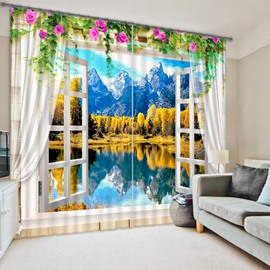 3D Mountains and River with Yellow Trees Printed Natural Scenery Custom Living Room Curtain
