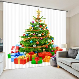 Christmas Tree Print Energy Saving 3D Curtain