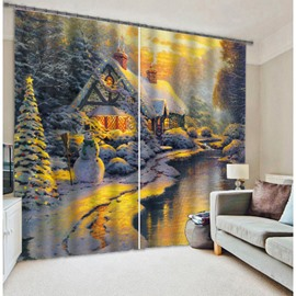 3D Wonderful Snowy Scenery Printed Natural Style Decoration Custom Living Room Curtain