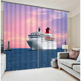 3D Ship on the Ocean Print Noise Reducing Curtain