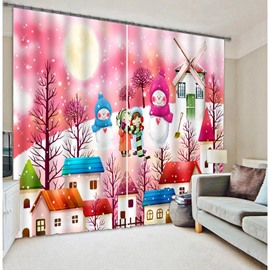 3D Cartoon House and Snowmen Two Panels Curtain