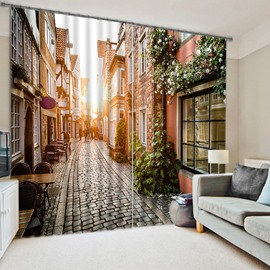 3D Alley Buildings and Dawn Sunlight Printed European Style Custom Curtain for Living Room