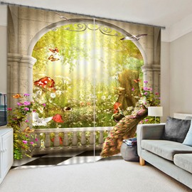 3D Butterflies Peacocks Birds and Beautiful Flowers Printed Custom Living Room Curtain