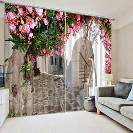 3D Pink Peach Flowers and White Corridor Printed Decorative and Shading Curtain