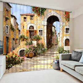 3D European Countryside Pathway and Buildings Printed Polyester Blackout 2 Panels Curtain