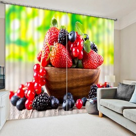 Delicious Strawberries and Blueberries Print 3D Blackout Curtain