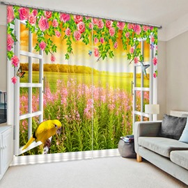Red Rose with Broad Field of Lavenders and Lovely Bird Printed 3D Blackout Curtain