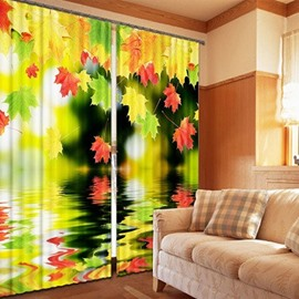 Colored Maple Leaves Falling in the Water Print 3D Blackout Curtain