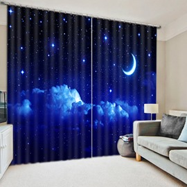 Beautiful Night Sky with Moon and Stars Print 3D Blackout Curtain