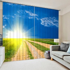 Bright Sunlight and Broad Crops Printed Pastoral Style 3D Blackout and Decorative Curtain