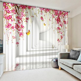 Yellow Butterfly and Pink Flowers in the Hallway Printed 3D Blackout and Decorative Curtain