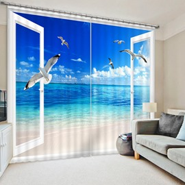 3D Seaside and Blue Sky with Flying Seagulls Printed Natural Scenery Polyester Decoration Curtain