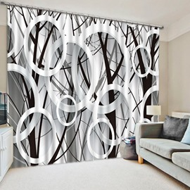 3D Black and White Circles Printed Modern Style Blackout and Decorative 2 Panels Curtain
