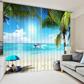 3D Blue Sea and White Beach Printed Wonderful Scenery Living Room Custom Curtain
