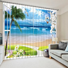 3D Beach and Seagulls with Sunflowers out of the Window Printed Decoration Polyester Curtain