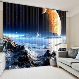 3D Surface of the Moon Printed Curtain Thick Polyester Custom Living Room Curtain