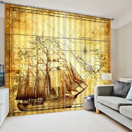 Ancient Fleets of Boats Sailing Printing Retro Style Creative Custom Living Room Curtain