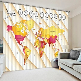Educational Time Zones of the World Print 3D Blackout Curtain