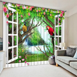 3D Cute Parrots with Beautiful Flowers Printed Country Style Blackout and Decoration Curtain