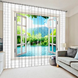 Calm Lake and Beautiful Waterfall out of the Window Print 3D Blackout Curtain