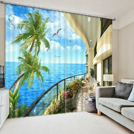 Blue Sky and Sea Seeing from Balcony Print 3D Custom Living Room Curtain