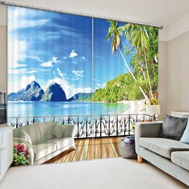 Beautiful Beach Scenery Outside the Balcony Print 3D Blackout Curtain