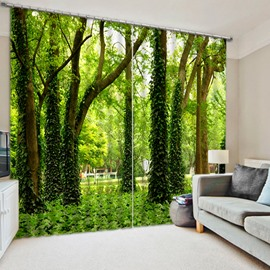 Green Trees Printed Pastoral and Fresh Style Window Decorative and Shading 3D Curtain