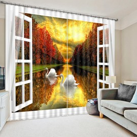 3D White Swan Swimming in Peaceful River with Red Trees Printed Blackout Curtain