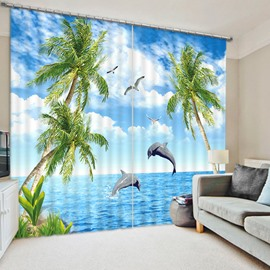 3D Palm Trees with Wonderful Dolphins in the Sea Printed Custom Blackout Living Room Curtain