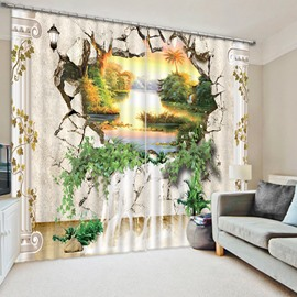 3D Creative and Unique Breaking Wall with Natural Scenery Printed Blackout Curtain