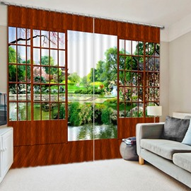 3D Nature Scenery with Wooden Door Printed Modern Style Thick Polyester Blackout Curtain
