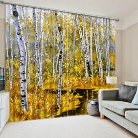 3D White Birch Forest Printed Thick Polyester Natural Scenery 2 Panels Blackout and Decorative Curtain