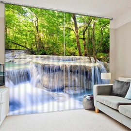Rushing Water and Green Trees Print 3D Blackout Curtain