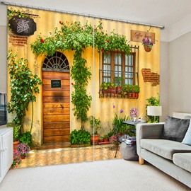 The Wooden Door and Flowers at the Door Print 3D Blackout Curtain