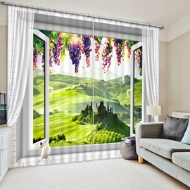 3D Purple Grapes and Broad Grassland Printed Blackout Custom Curtain