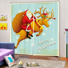 Cool Santa Riding Reindeer Printing Christmas Theme 3D Curtain