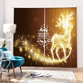 Dreamy Reindeer Merry Christmas Printing Christmas Theme 3D Curtain