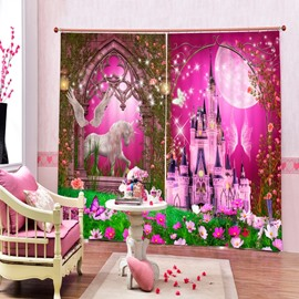 3D Pink Castles and White Horse Printed Christmas Theme Living Room Curtain