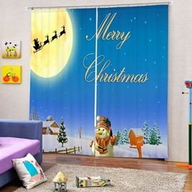 Cute Snowman Waving and Santa Shadow Printing Christmas Theme 3D Curtain
