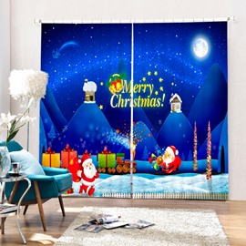 Cartoon Santa Transporting Gifts Printing Christmas Theme 3D Blue Curtain