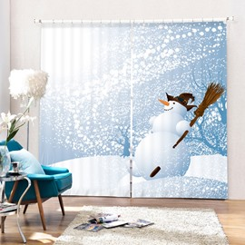 Cartoon Witch Snowman Printing Christmas Theme 3D Curtain