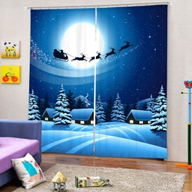 The Shadow of Santa Riding Reindeer Printing Christmas Theme 3D Blue Curtain
