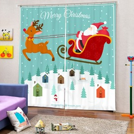 Clip Art Santa Riding Reindeer in the Air Printing Christmas Theme 3D Curtain