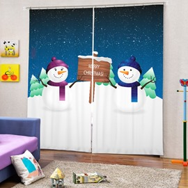 Cartoon Snowman Lover Printing Merry Christmas Theme 3D Curtain