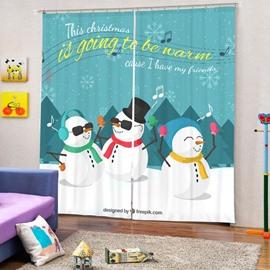 Colorful Rock Snowmen Printing Christmas Theme 3D Curtain
