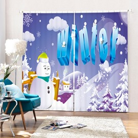 Cartoon Christmas Winter Printing Merry Christmas Theme 3D Curtain